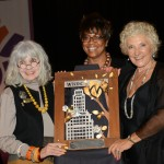 Carol Dougal, Candance Waterman & Hedy Ratner at WBDC w/ artwork by Ahlers Designs