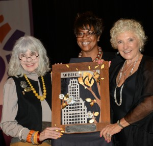 Carol Dougal, Candace Waterman & Hedy Ratner at WBDC w/ artwork by Ahlers Designs
